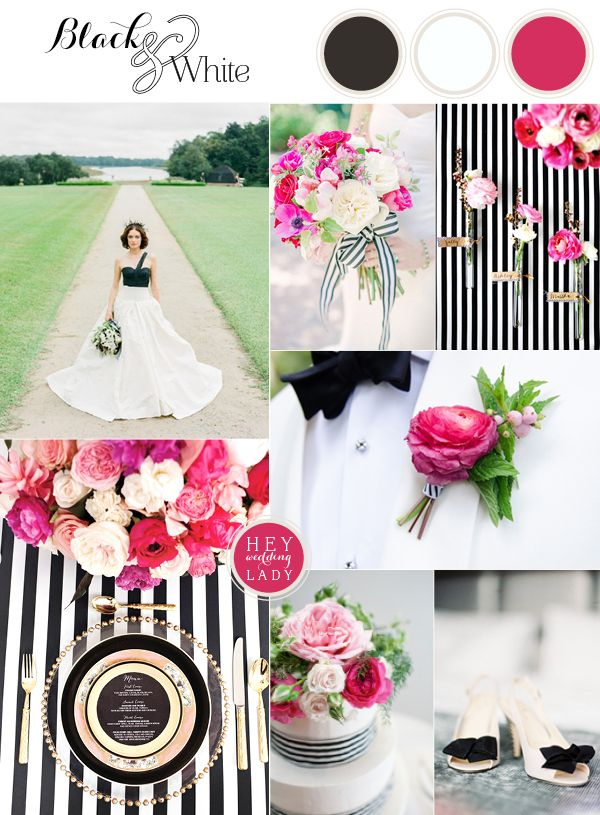 Chic and Modern Black and White Wedding Inspiration with Brilliant Fuchsia | See More! http://heyweddinglady.com/chic-modern-black-and-white-wedding-inspiration-with-brilliant-fuchsia/