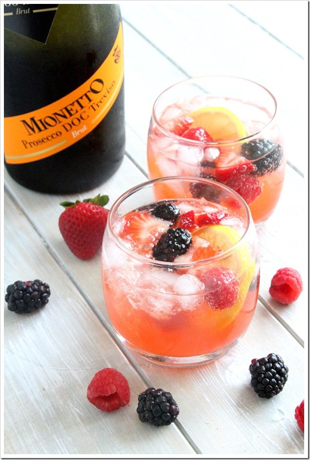 Mixed Berry Lemonade Sparkling Sangria made with Mionetto Prosecco | Doughmesstic