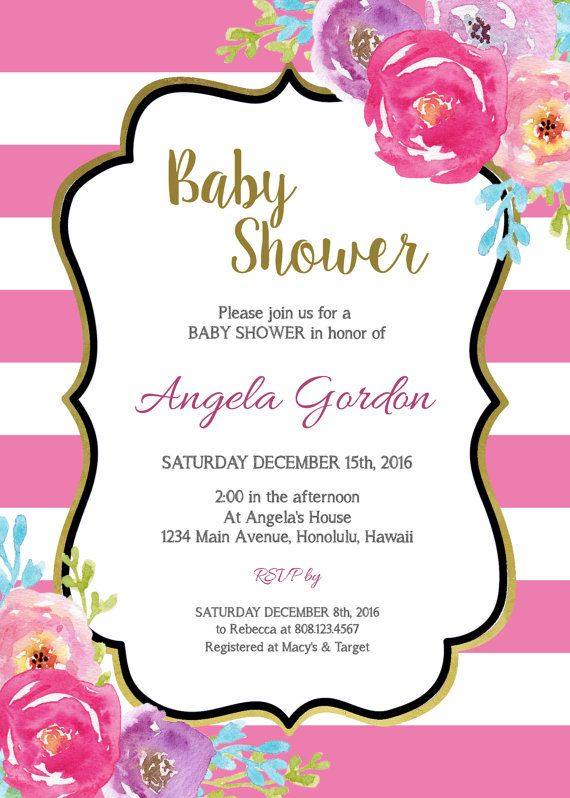 Turquoise Floral Baby Shower Invitation by StrawberryPartyPrint
