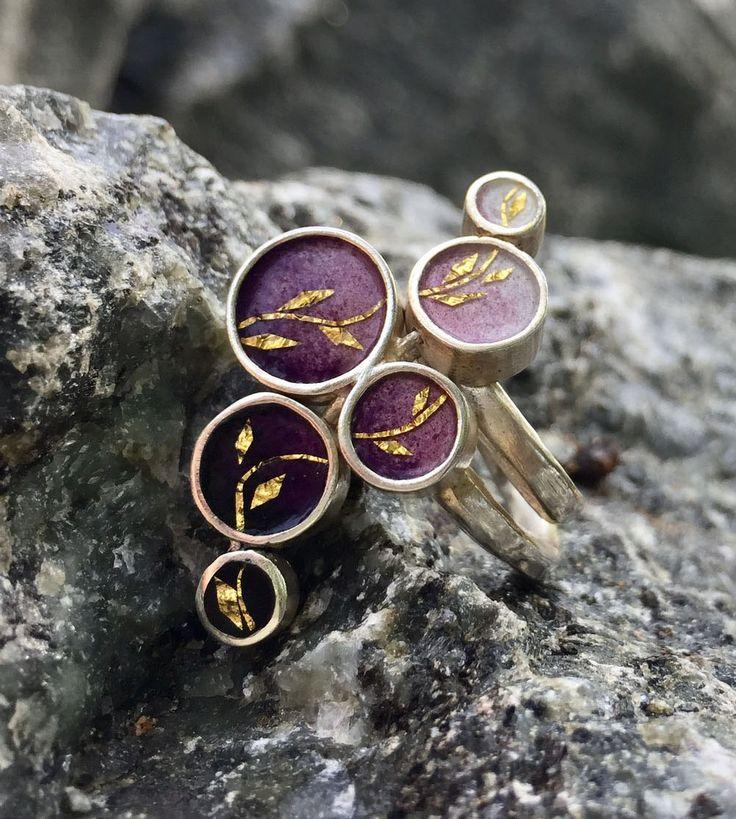 One of a kind ombre purple enamel ring with golden leaves – Folt Bolt Shop