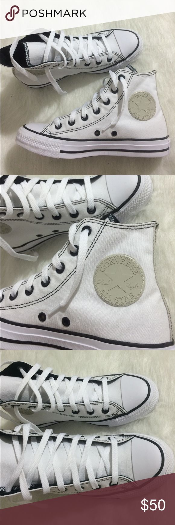 Converse white chuck Taylor shoes womens size 6.5 Brand new without box. Size 6.5 Customized on the converse website. One of a kind. Ships same day or very next. ✨ Converse Shoes Sneakers