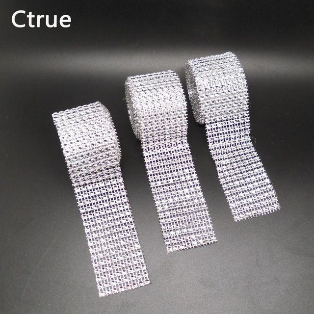 1 unids 4 cm * 2 metro Bling Diamond mesh Wrap cinta de diamantes de Imitación de plata de Malla Rollo Cinta de Tul Cinta Cristal pastel de la decoración de la boda