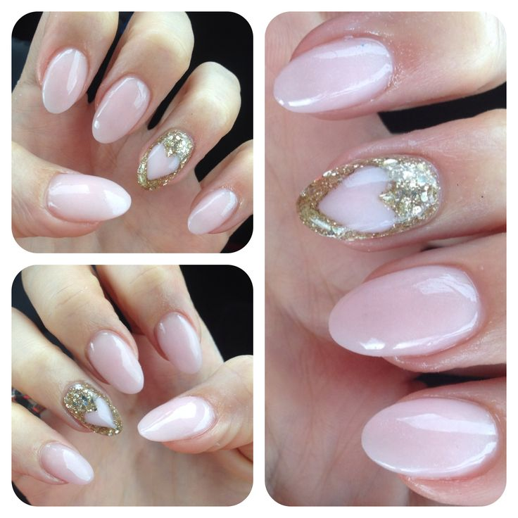 Acrylic Almond Shaped Nails Gold Glitter Heart