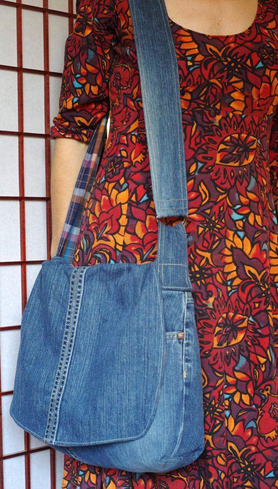 Recycled Denim Messenger Bag  large denim purse  by Recreatives, $54.00