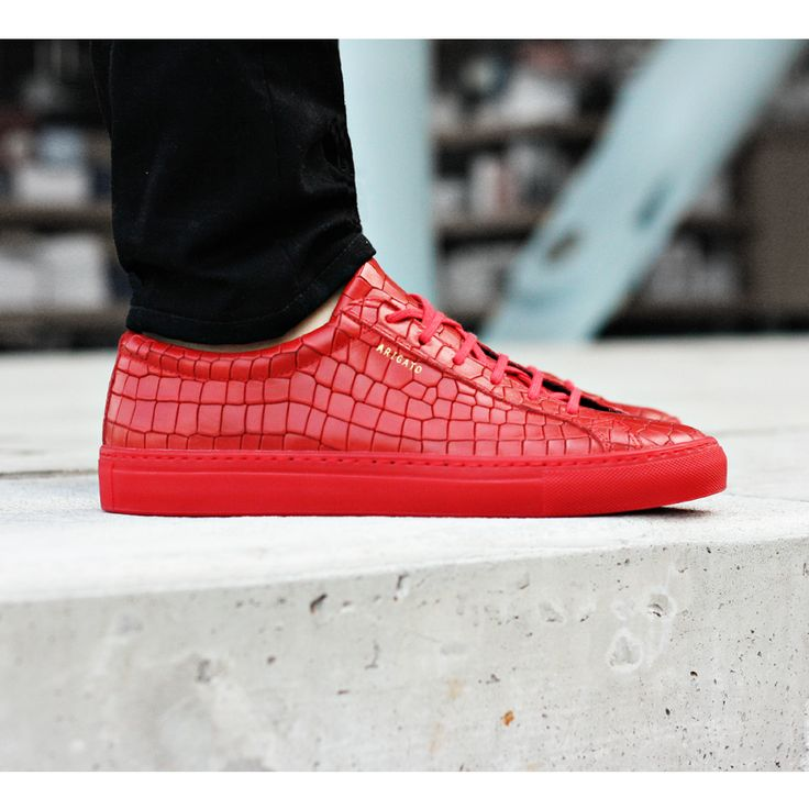 Axel Arigato red alligator embossed leather low sneaker with a classic  design, handcrafted with premium
