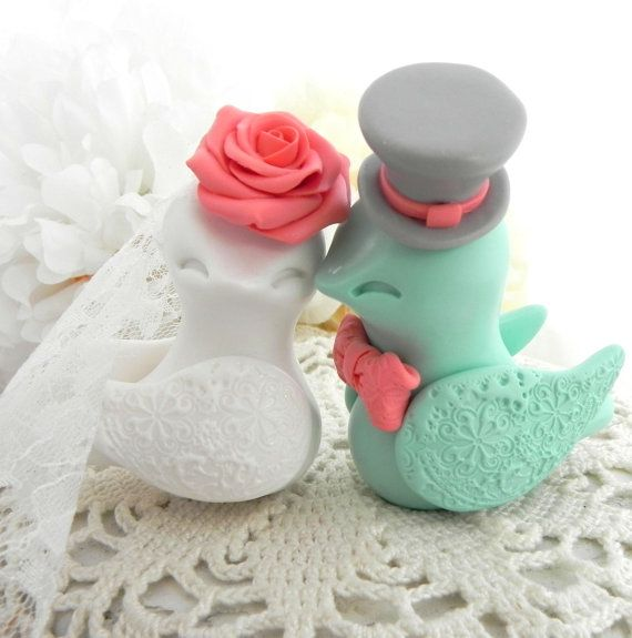 Lovebirds Wedding Cake Topper White Coral Mint Green by LavaGifts
