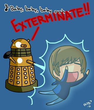 """The Dalek exterminating the earworm song """"baby baby..."""" by pop Canadian musician Justin Bieber."""