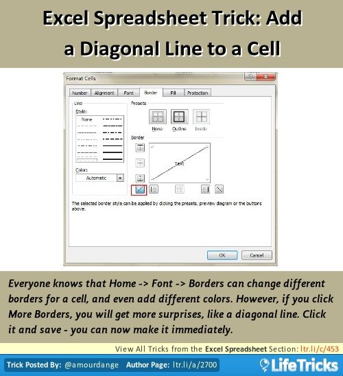 how to add a diagonal line in an excel cell