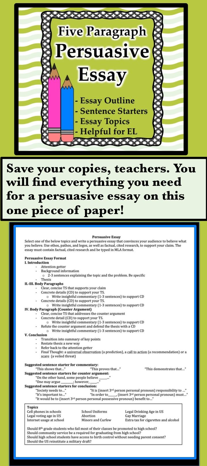 17 best ideas about persuasive essays essay writing everything your students will need for a persuasive essay on just one piece of paper