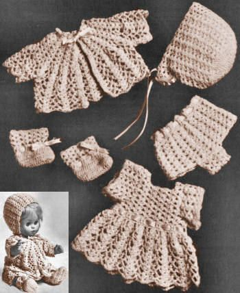 14 inch Baby Doll Clothes Vintage Crochet Pattern for download