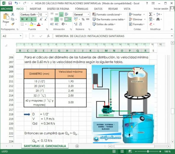 Hoja Excel Para Calcular La Capacidad De Una Cisterna Y Tanque Elevado Civilgeeks Com Hojas De Calculo Tanques Calentador Solar