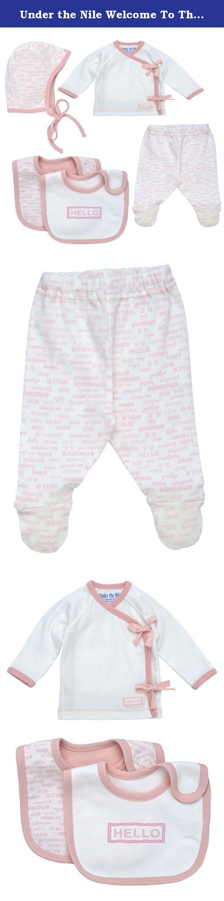 "Under the Nile Welcome To The World Layette Set-Blush (Pink)-Newborn. Side Tie Layette Set: This set is an essential basic outfit for any baby! The Hello Goodbye collection was developed especially for newborn babies; clothing that is designed to fit your baby for the trip home from the hospital. This cute print says ""Hello Goodbye"" in five languages: English, Spanish, Italian, French, and Chinese. A great take me home gift that includes a heart shaped card for baby's name and date of…"