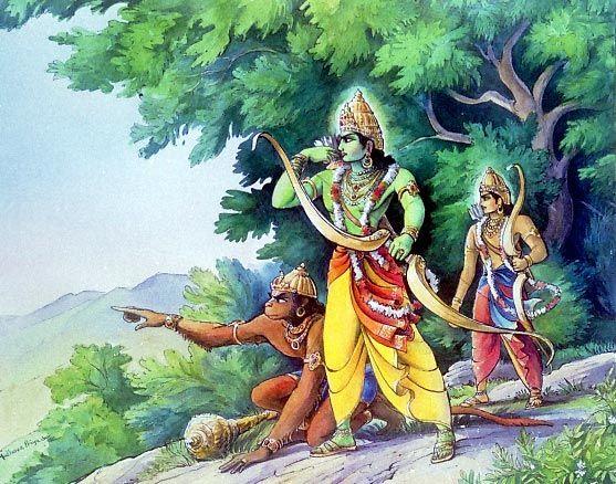 Waldorf ~ 5th grade ~ Ancient India ~ The Ramayana ~ Hanuman with Rama and Lakshman ~ main lesson book