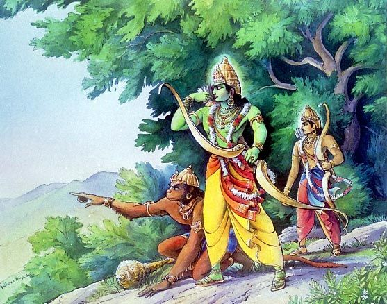 Waldorf ~ 5th grade ~ Ancient India ~ The Ramayana ~ Hanuman with Rama and Lakshman ~ main lesson book