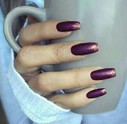 Deep purple w/ glitter tips.                                                                                                                                                                                 More