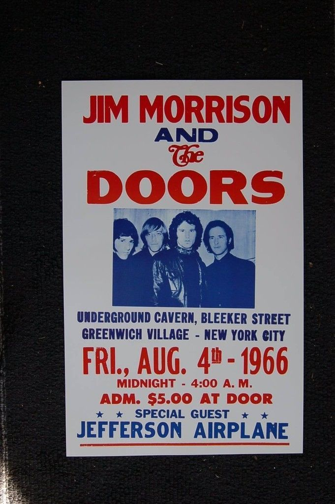 The Doors 1966 White Poster Greenwich Village New York | eBay