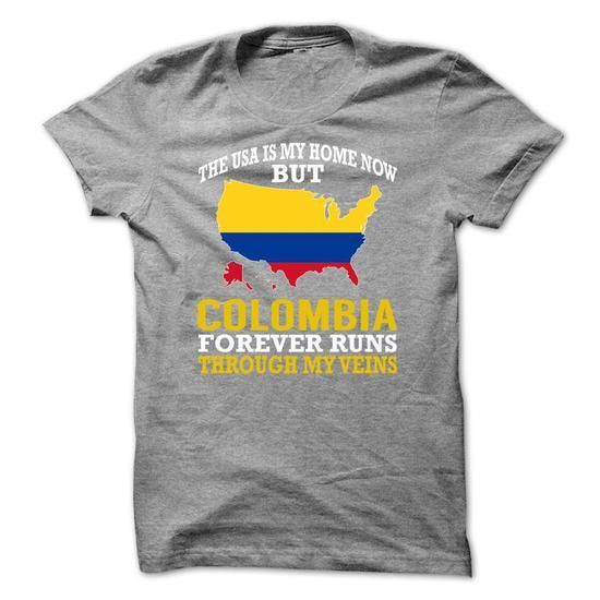 The USA is My Home Now But Colombia Forever Runs Throug - #pocket tee #tee time. CHECK PRICE => https://www.sunfrog.com/States/The-USA-is-My-Home-Now-But-Colombia-Forever-Runs-Through-My-Veins-ehzwnewcjw.html?68278