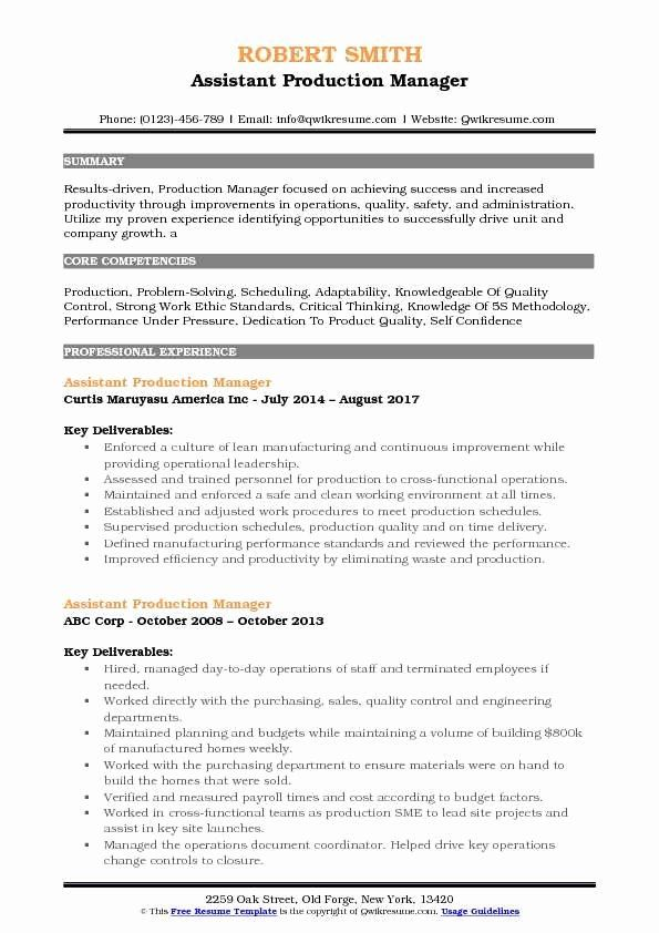 Entry Level Product Manager Resume Lovely Assistant Production Manager Resume Samples In 2020 Manager Resume Resume Job Resume