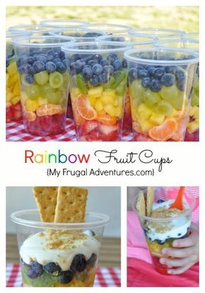 Quick and delicious rainbow fruit cups for children.  A perfect healthy snack for class parties, sports or birthdays! My children LOVED these.
