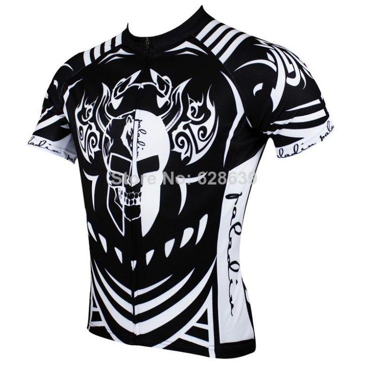 Hot sale 2014 New Men Cycling Jersey Short sleeve Bike Shirt Clothing Paladin Sport Black Skull S-3XL