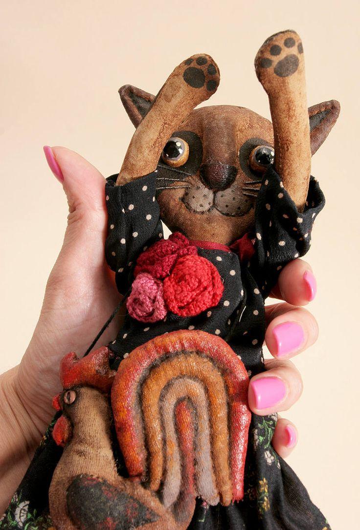 Авторский Арт-Кукла одета подарок для любителя кошек примитивный народец