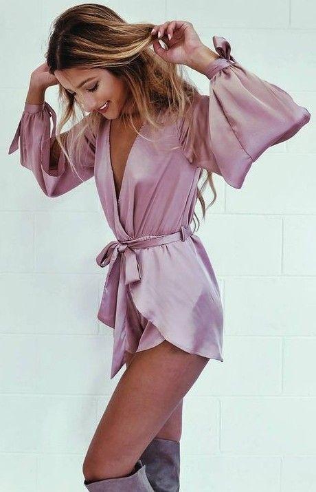#summer #flirty #outfitideas Pink Silk Playsuit
