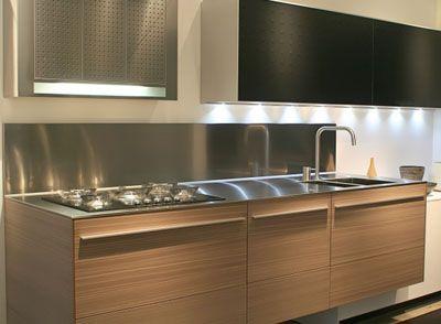 floating kitchen thin stainless steel benchtop countertop with splashback backsplash timber veneer