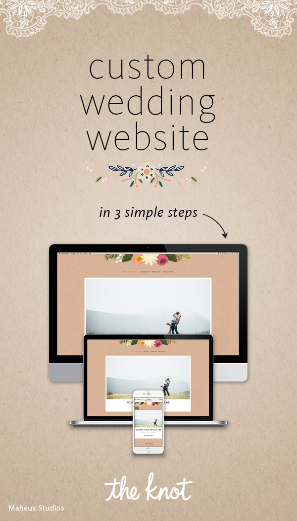 Personalize your wedding website today. It's the easy, gorgeous (and free!) way to share wedding details with your guests.