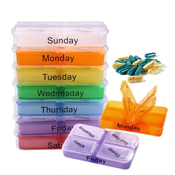 Pillendoosjes alle dagen - week orginizer met tekst en kleurcode. 7x gekleurde medicijnen, vitamines, pillen bewaardoosjes, 4 opberg vakjes om te sorteren.
