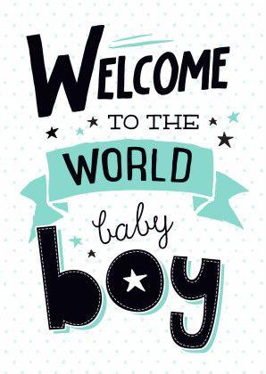 Trendy felicitatie kaart voor de geboorte van een zoontje, verkrijgbaar bij #kaartje2go voor €1,89