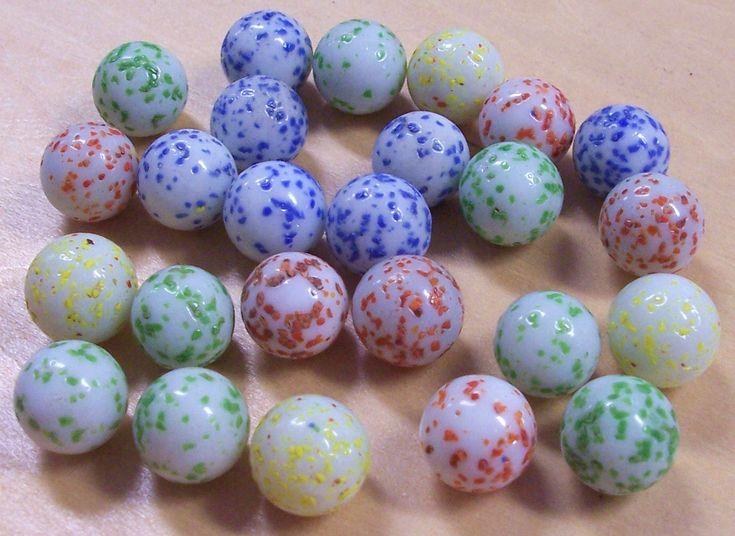 Vintage Glass Marbles Speckled Twenty Five 25 Blue Red