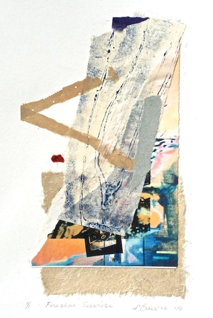 ELAINE d'ESTERRE - Foreshore Sunrise, 2016, collage, 40x30 cm. Also at htp://elainedesterreart.com/and http://www.facebook.com/elainedesterreart/ and http://instagram.com/desterreart/
