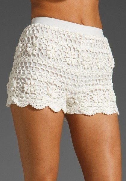 White crochet or lace Short