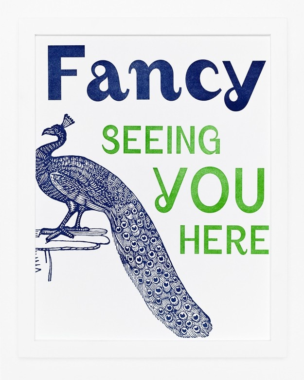 Sycamore Street Press - Fancy Seeing You Peacock Art Poster Print