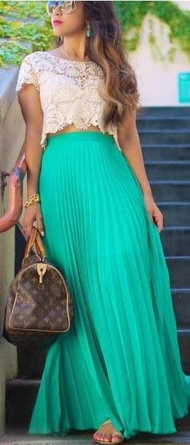 Cream lace + jade maxi.