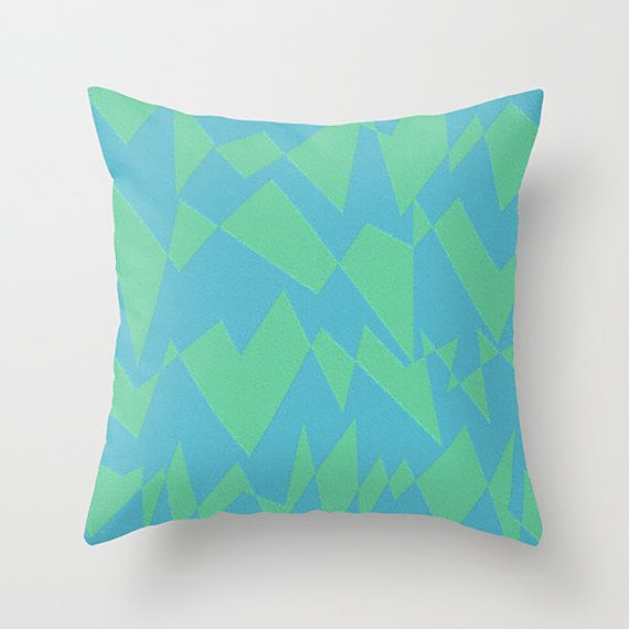 Modern Green Pillow Cover : Modern Throw Pillow Cover - Blue and Green Abstract Design