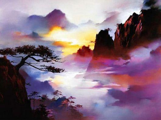 Китайские художники Hong Leung. Красивые пейзажи маслом ... Неоимпрессионизм