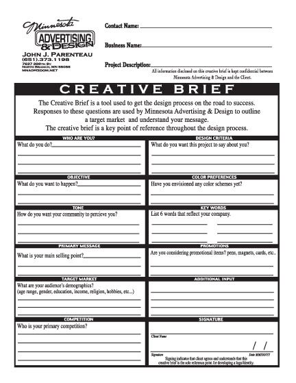Creative template for writing a brief
