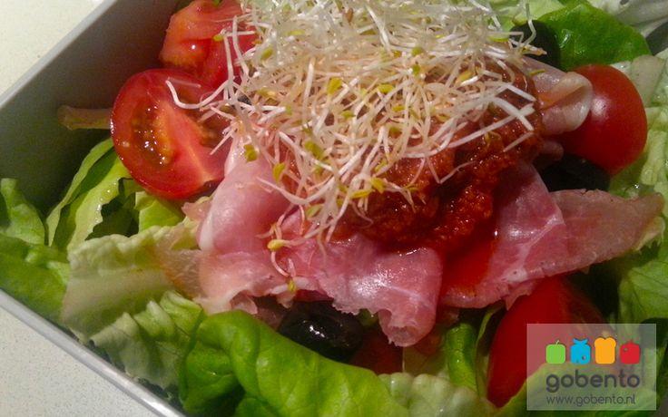 Salade rode pesto en ham