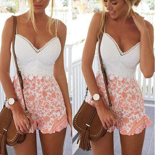 Deep V Sexy Lace Stitching Jumpsuit Rompers