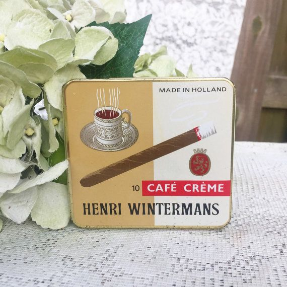 Henri Winterman's Cafe Creme Cigar tin box Cigarillo Holland advertising storage container hinged decor home man cave coffee by WonderCabinetArts