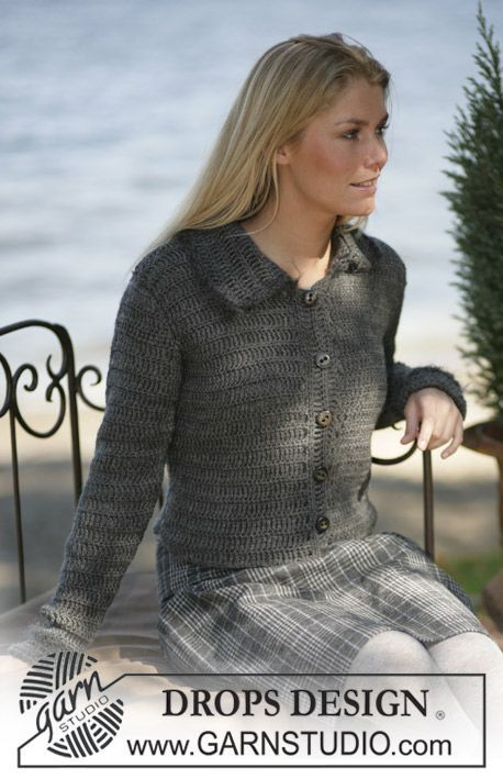 """DROPS Crochet cardigan in """"Karisma"""" with edges in Vienna ~ DROPS Design"""