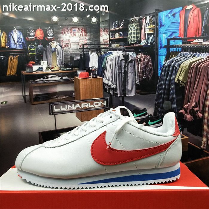 official photos 83289 49f4a Retro Nike Classic Cortez Special Men Running Shoes Leather White Blue Red  Chinese