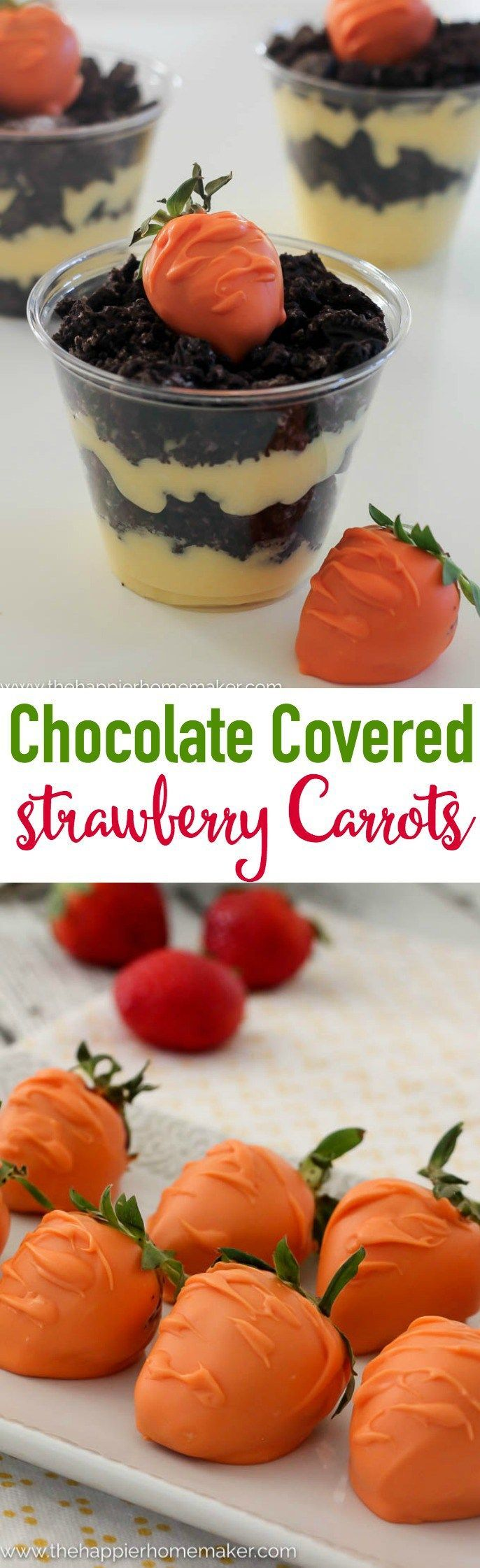 How cute are these? Strawberries covered in orange candy to look like carrots-this would be the perfect Easter dessert!