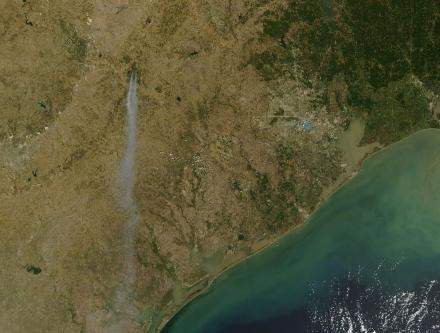 Bastrop fire from space
