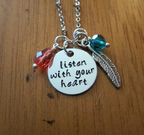 "Pocahontas Necklace. Disney song ""Listen with your heart"" necklace by WithLoveFromOC, $20.00  ""Que que na-to-ra, You will understand, Listen with your heart, You will understand, Let it break upon you Like a wave upon the sand, Listen with your heart You will understand"" #Disney #DisneySong #Pocahontas"