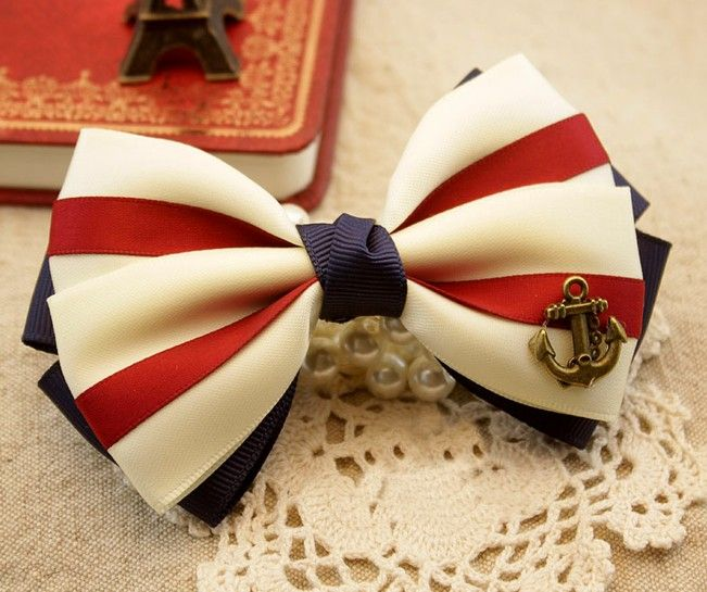 beautiful Nice Anchor Hair Bow. Making this for Heather, most def.