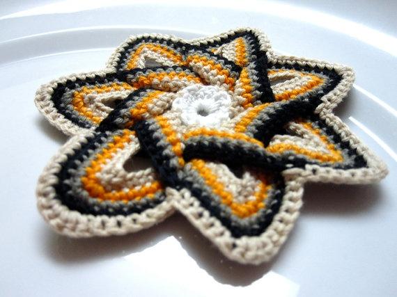 Crochet Applique  Cream Black Orange and Gray by slappytheseal, $5.00