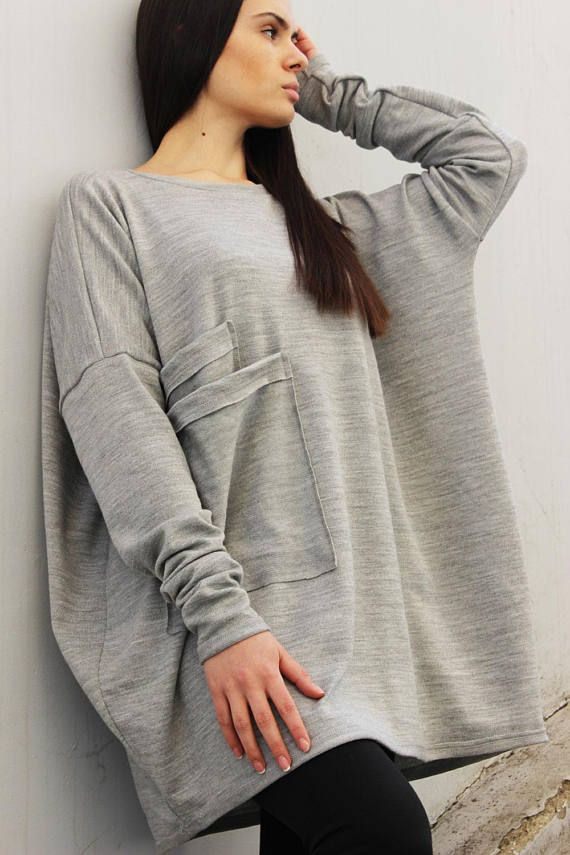 3ada04a9409 Grey Tunic  Tunic Tops Womens Sweater Boho Top Oversized