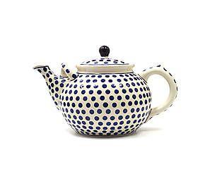 Teiera in ceramica Blue Dots, blu/bianco - L 27 cm